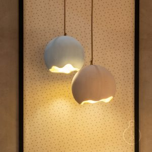 Suspension chandelier E27 lampshade egg dome rockypaper in light pink