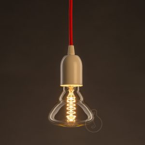 E27 assembled pendant in white metal with red cable