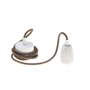 E27 assembled pendant in white porcelain with brown cable
