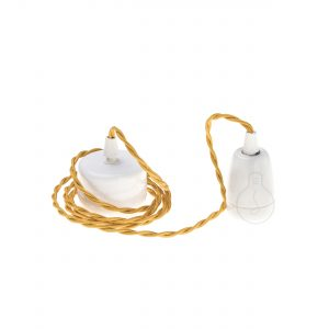 E27 assembled pendant in white porcelain with gold braided cable