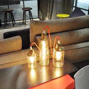 Lamp holder, milk jar E27 metal lamp holder in gold color, shiny gold ceiling rose, red round cable