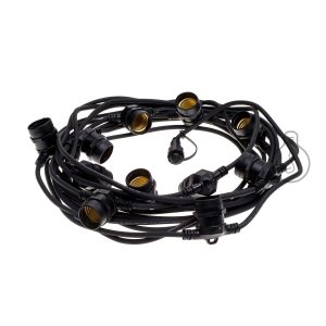 Black outdoor chain with 11 E27 lampholders and round cable