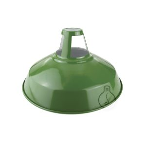 Metal industrial bell open version, sage green color with white interior with hole for lamp holder