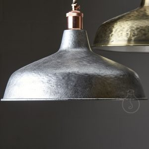 Hand hammered metal shade in steel color