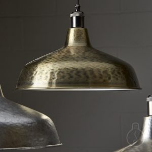Hand hammered metal shade in brass color