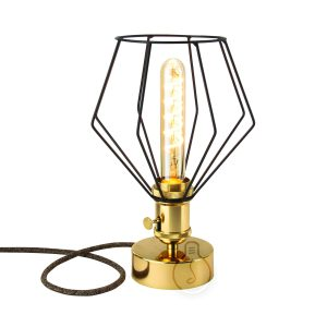 Lu Mino table lamp, E27 metal lamp holder in shiny gold color