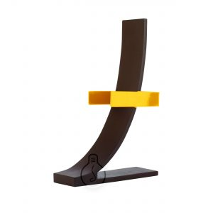 Metal seven applique in yellow and corten color, base rectangular with vintage E27 lamp holder