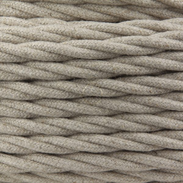 Braided electric cable in silk fabric coating, hemp tuff color